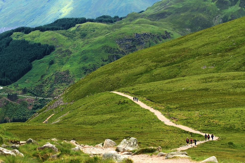 A country path with walkers on Ben Nevis