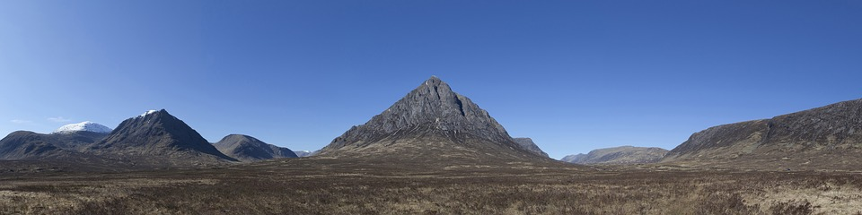 A panoramic shot of Buachaille mountain in Scotland