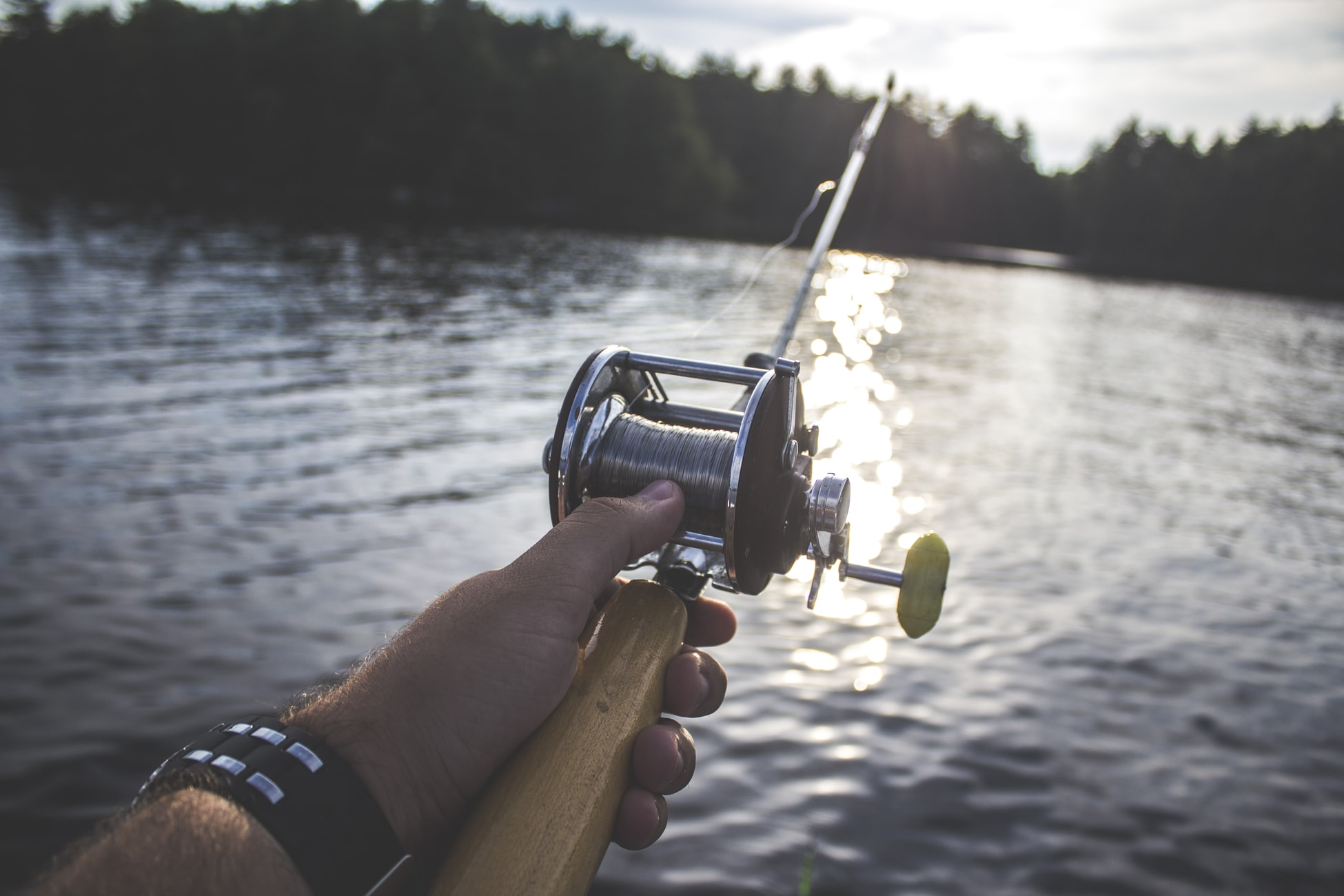 A hand holding a fishing rod with water in the background