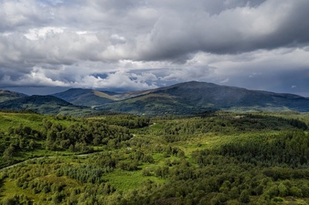 A panoramic view of The Trossachs National Park in Scotland