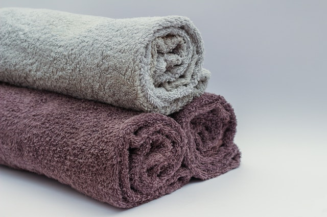 Pile of rolled up towels.
